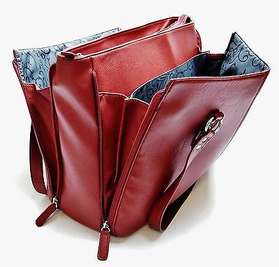 Buxton 'Madison' X-Large Red Faux Leather Expandable Business / Laptop /Tote Bag