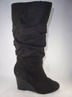 Women's RAMPAGE SHIREEN Black Fabric Knee High Wedge Casual Dress Boots New
