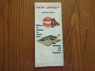 1967 Flying A Service Tidewater Oil Co New Jersey Road Map Bassett Hound