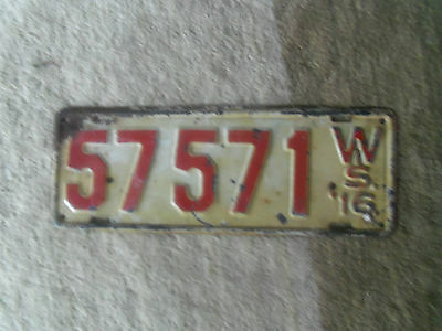 1916  Wisconsin License plate  Original Paint  1916  Ford Model T ?
