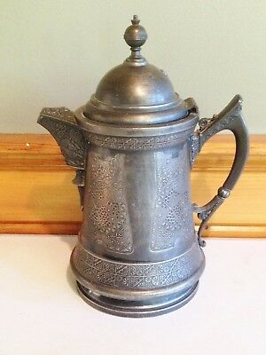 Early Derby Insulated Silverplate Water Pitcher With Dragon Fly Design