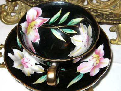 VINTAGE AZALEA FLORAL on BLACK HAND PAINTED TEA CUP AND SAUCER MADE IN JAPAN