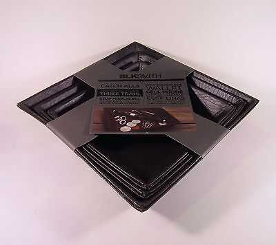 BLKSmith Catch-All Brown Trays Square Set of 3 NWT