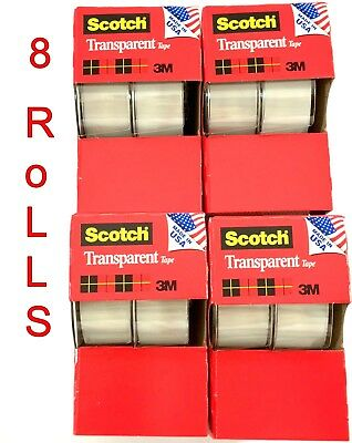 "8pc 3M Scotch Tape Clear Office Transparent 3/4"" 250"" w/ Desktop Dispenser Lot"