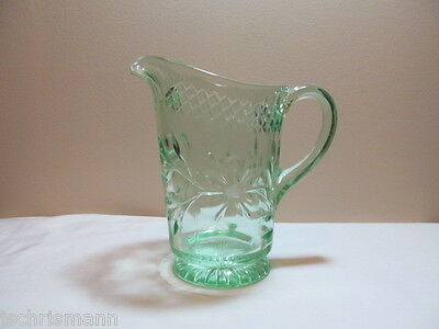 Green Depression Glass Floral and Diamond Band 42 Ounce Pitcher HTF
