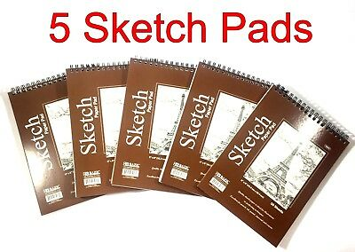 "(5) High Quality Spiral Premium Sketch Book Drawing Paper Pad 50 Sheets 6"" x 8"""