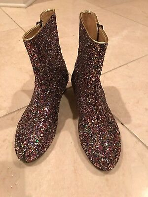 J. CREW/CREWCUTS Leather and Swarovski Sparkle Boots with side Zipper Size 4