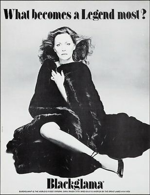 BLACKGLAMA FAYE DUNAWAY Vintage advertising poster MINK FUR COAT 17x22 Mint