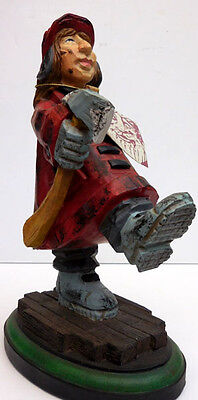 """David Frykman Firefighter Figurine """"fire Lady In Coat With Axe"""" #df3912"""