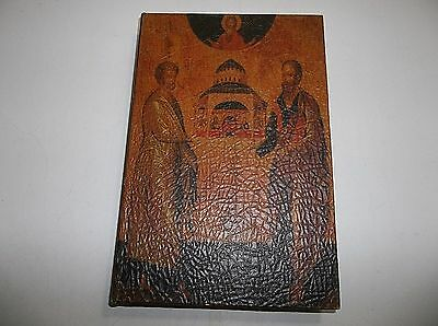 Vintage Leather Covered Box BIBLE Book Cover Storage JESUS Saints