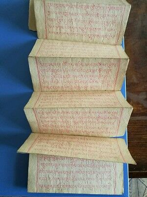 Antique Tibetan Buddhist Woodblock Complete Manuscript With Red Ink