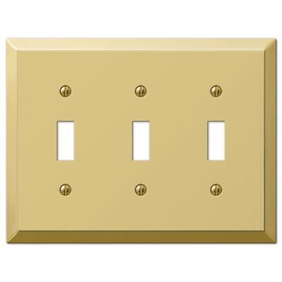 Amerelle 3 Toggle Wall Plate, Polished Brass 163TTTBR