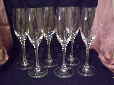 6 (Six) Vintage Crystal Champagne /wine Flutes With Twisted Stems.