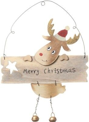 MERRY CHRISTMAS Wooden Plaque with Reindeer Xmas Wall Hanging Decoration Sign
