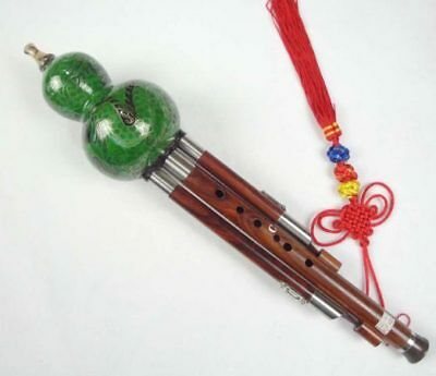 Sandalwood Cloisonne 3 Octaves Hulusi Flute Woodwind #108G + Case + How to Play