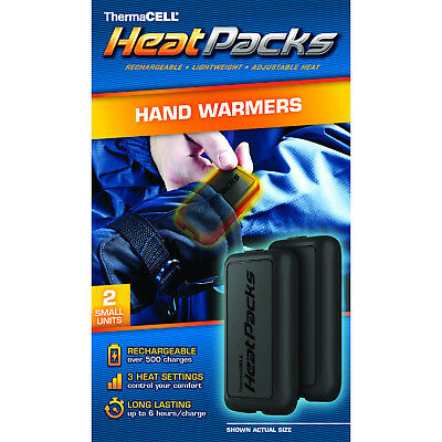 Heat Pack Hand Warmer 2 Pk Lightweight Lithium Ion Polymer Battery Operated