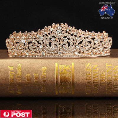 Wedding Bridal Rose Gold Crystal Rhinestone Pageant Tiara Crown Party Headband