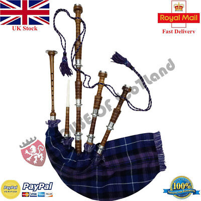Scottish Highland Bagpipe Full Size Silver Mounts Natural Finish With Tutor Book