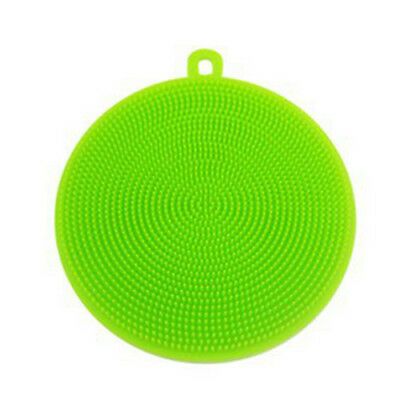 Green Silicon Double-Side Cleaning Dish Washing Scouring Pad Sponge Scrubber