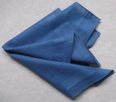 VINTAGE HANKIE HANDKERCHIEF 1960s 1970s MOD TOP POCKET SQUARE COTTON BLUE