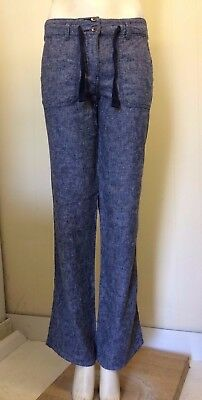 Lovely Pale Blue Linen Blend Straight Leg Trousers from TU - Size 8 Long - Great