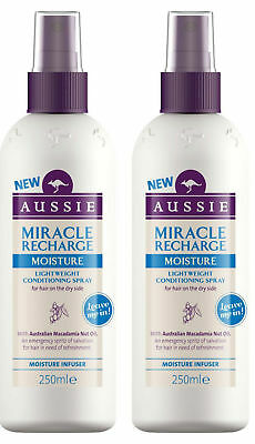 2 x Aussie Miracle Recharge MOISTURE Leave In Conditioning Spray Conditioner