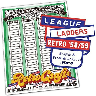 League Ladders 1958/59 Retro Edition Football Vintage Repro Team Tabs and Ladder