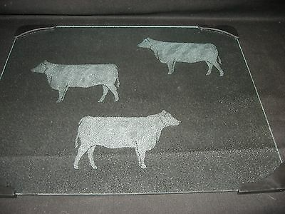New Etched Black Angus Cow Cattle Steer Glass Cutting Board