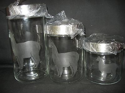 New Etched Alpaca Llama Glass Cookie Storage Jar Canister Set