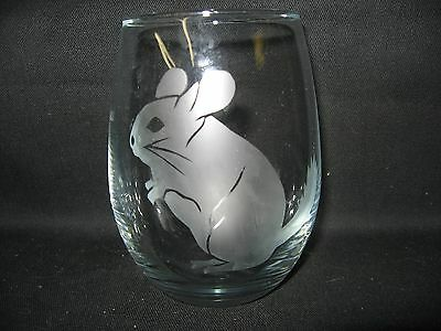 New Etched Chinchilla Stemless Wine Glass Tumbler