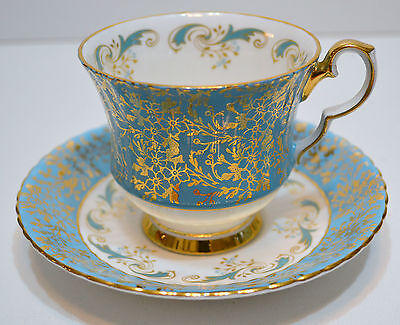 Hammersley Tea Cup And Saucer Blue With Gold Leaves