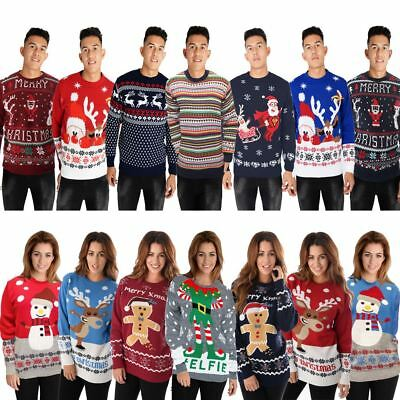 Christmas Jumpers Mens Ladies Unisex Xmas Womens Knitted Novelty Vintage Sweater