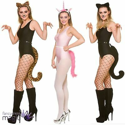 Adults Deluxe Animal Ears And Giant Tail Set Fancy Dress Costume Accessory Kit