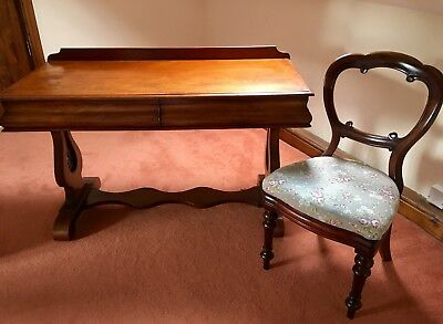 Victorian Antique Mahogany Writing / Hallway Table / Desk and Balloon Chair