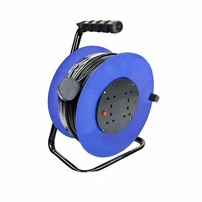 NEW! 230V 50m 13A 4 Way Gang Socket Extension Cable Reel Electrical Lead