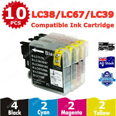 10x Ink Cartridges LC39 LC985 for Brother DCP J515W J315W J125 MFC J220