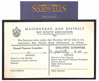 M3483 1937 GB MAIDENHEAD SCOUTS Wallis Correspondence KEVIII Official Card Berks