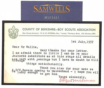 MS3481 1937 GB BERKSHIRE BOY SCOUTS Card re JAMBOREE Wallis Correspondence