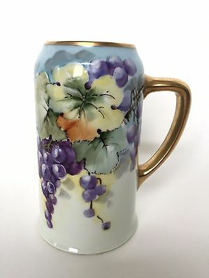 Antique Porcelain Hand Painted Purple Grapes Gold Gild Tall Pitcher Mug Stein