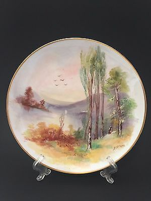 U C Limoges Hand Painted Forest Scene Porcelain Signed Collector Display Plate