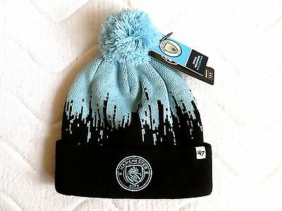 MANCHESTER CITY OFFICIAL FOOTBALL '47 Brand BOBBLE BEANIE HAT Pompom New Tag