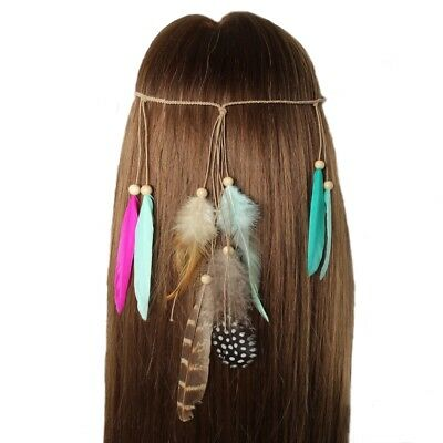 Haarband Haarkette Feder Stirnband Indianer Look Hippie Kopfschmuck