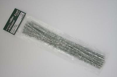 15 Metallic Chenille Stems, 12 Inches, Pipe Cleaners,6 mm,Silvered
