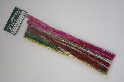 30 Metallic Chenille Stems, 12 Inches, Pipe Cleaners,6 mm,Multicolor