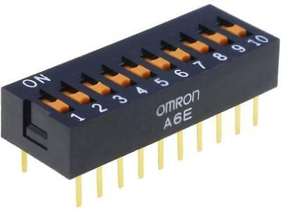 A6E-0101 Switch DIP-SWITCH Poles number10 ON-OFF 0.025A/24VDC 100MΩ A6E-0101-N