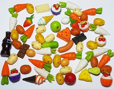 60 Dollhouse Miniature Mixed Food Set *Doll Mini Cakes Fruit Vegetables Candy z3