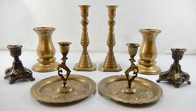 4 Pair Vintage Brass & Brass Plated Candle Holders - Sticks