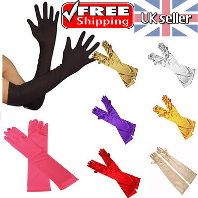 Ladies Satin Party Dress Prom Evening Wedding Bridal Long Finger Gloves Uk Stock