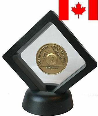 Black Diamond Square AA Medallion Challenge Coin Chip Display Stand Holder Ma...