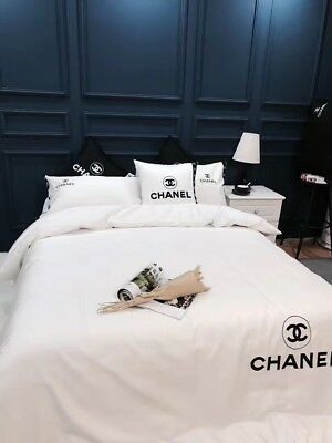 Classic White CC Chanel Symbol 4PC Advance Cotton Queen/King Size Bed Set